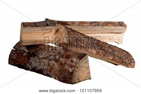 pine wood logs on a white background