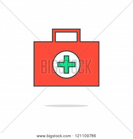 simple red medical suitcase