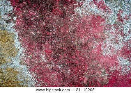 red and blue grunge painted metal texture of junk car body