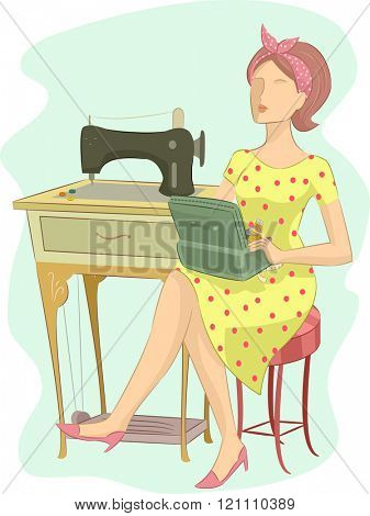 Illustration of a Girl in a Retro Outfit Sitting Beside a Vintage Sewing Machine