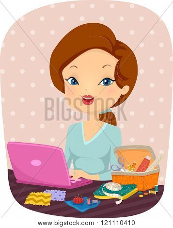 Illustration of a Female Sewer Surfing the Internet on Her Laptop