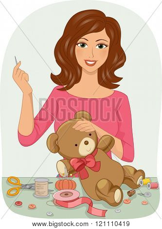 Illustration of a Girl Stitching Up a Stuffed Toy