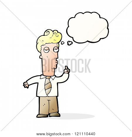 cartoon bored man asking question with thought bubble