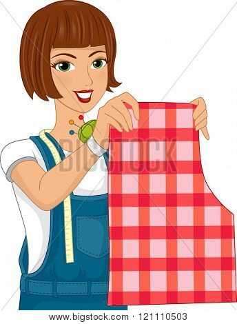 Illustration of a Girl Wearing a Wrist Pin Cushion Holding Up a Sewing Pattern
