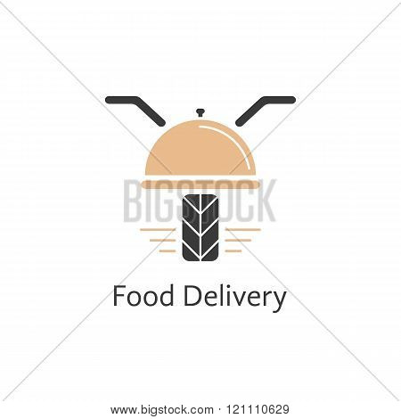 food delivery logotype like motor scooter