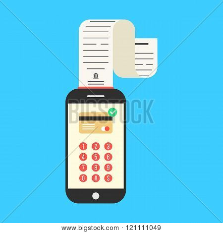 smartphone with cash-memo or paycheck on blue background