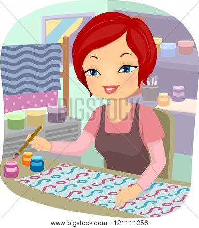 Illustration of a Girl Painting a Stretch of Fabric