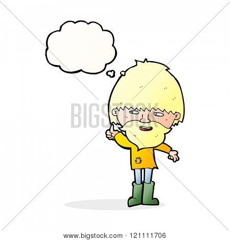 cartoon hippie man in wellington boots with thought bubble