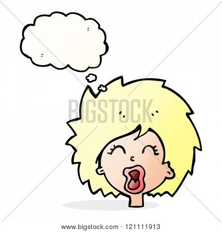 cartoon woman screaming with thought bubble