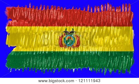 Flag of Bolivia , Bolivian flag painted with brush on solid background, ink texture