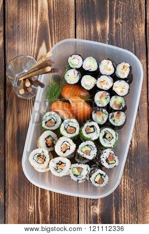 Sushi In A Plastic Box