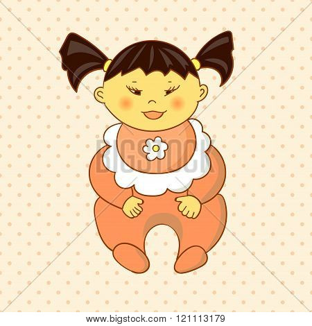 Cartoon asian baby girl on dots background