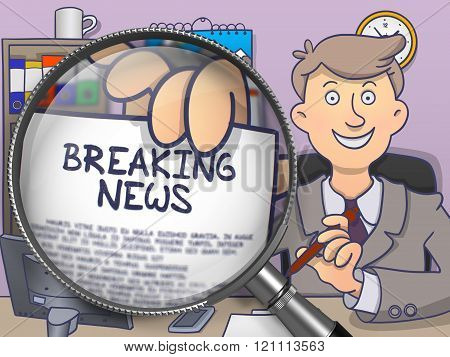 Breaking News through Magnifier. Doodle Style.