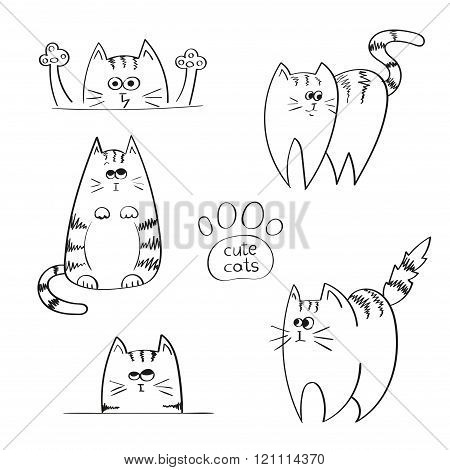 Set of doodle funny cats