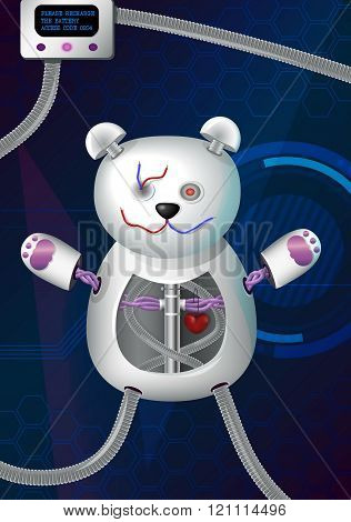 Fantasy futuristic hi-tech illustration of a bionic robot mechanical teddy bear with red heart, cord