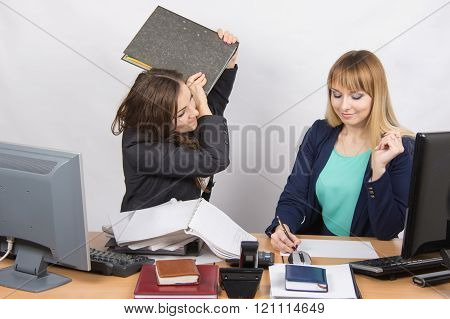 Girl In Office With Folder Anger Trying To Hit His Colleague