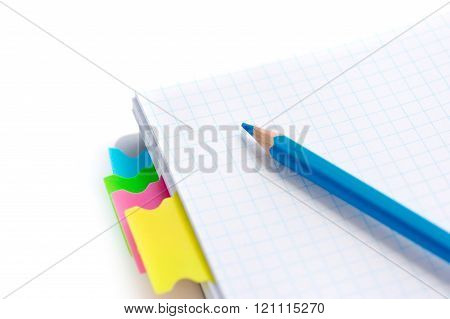 Notebook And Pencil On The Desk, Close-up