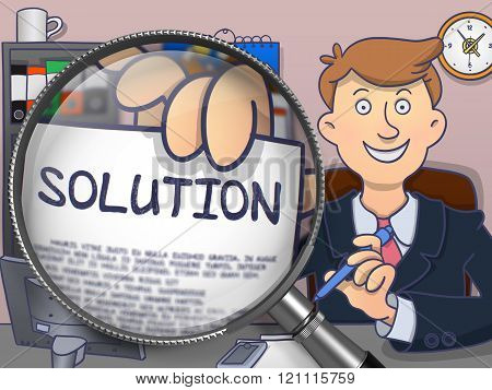 Solution through Lens. Doodle Style.
