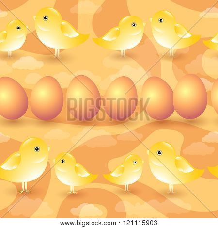 Easter background.  Seamless vector pattern with chicks, eggs and clouds.