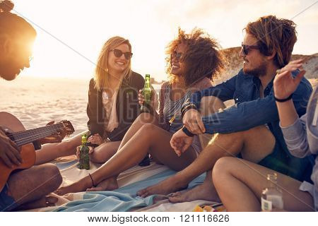 Young Friends Partying At The Beach