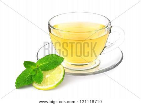Green tea with mint and lime.