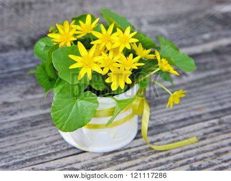 Bouquet Of Lesser Celandine (ranunculus Ficaria) On A Old Wooden Background