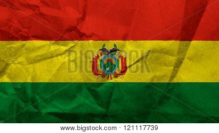 Flag of Bolivia, Bolivian flag painted on paper texture