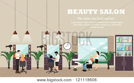 Beauty salon interior vector concept banners. Hair style design studio. Women in haircut atelier.