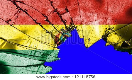 Flag of Bolivia , Bolivian flag painted on broken glass