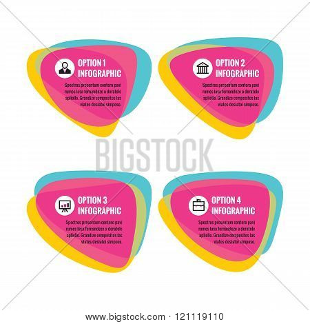 Infographic business concept - abstract vector smooth shapes. Numbered step option with text and ico