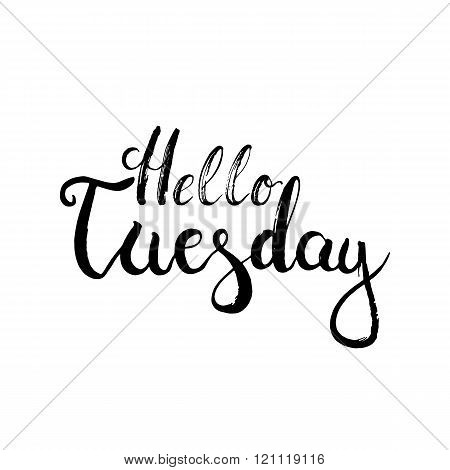 Hand drawn typography lettering phrase Hello Tuesday on the white background. Modern motivational ca