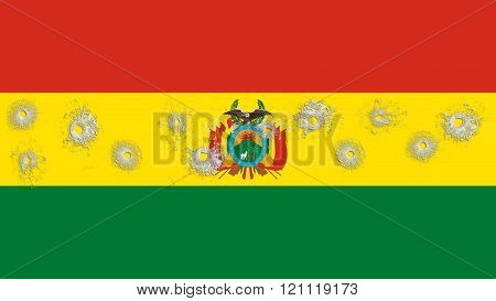 Flag of Bolivia , Bolivian flag with glass bullet holes