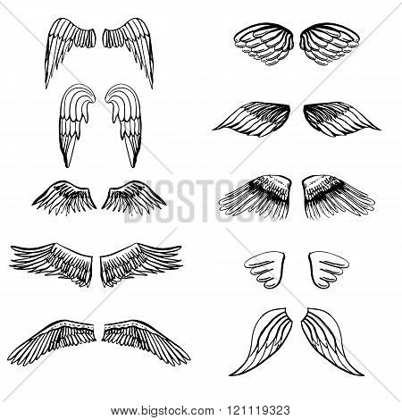 Wings illustration silhouettes set for making your own logo, badge, label design.