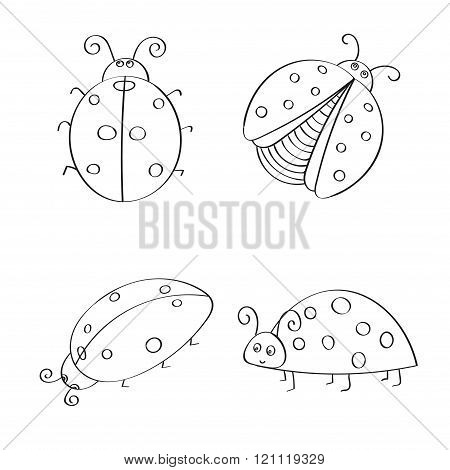 Set of hand drawn ladybugs. Outline.