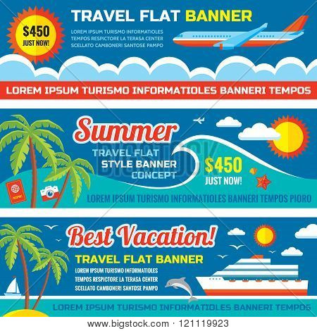 Summer travel - decorative horizontal vector banners set in flat style design trend.