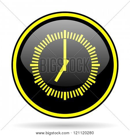 time black and yellow modern glossy web icon