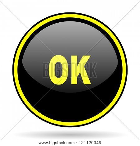 ok black and yellow modern glossy web icon
