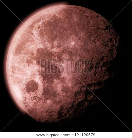 3D Generic Red  Moon With Craters