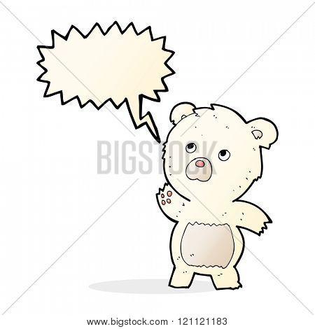 cartoon curious polar bear with speech bubble