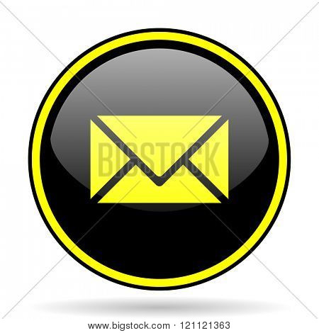 email black and yellow modern glossy web icon