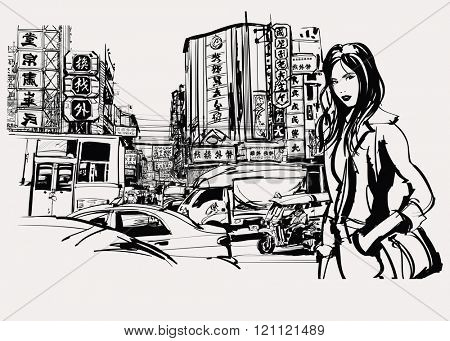 Woman traveling in Asia - Vector illustration