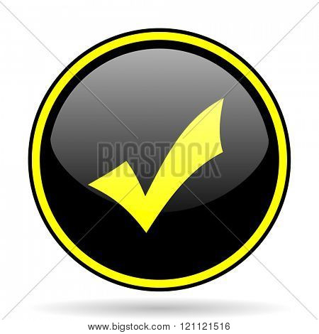 accept black and yellow modern glossy web icon