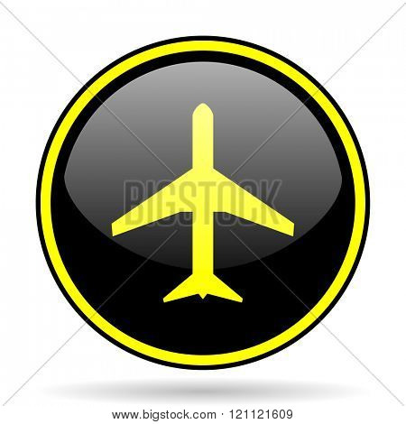 plane black and yellow modern glossy web icon