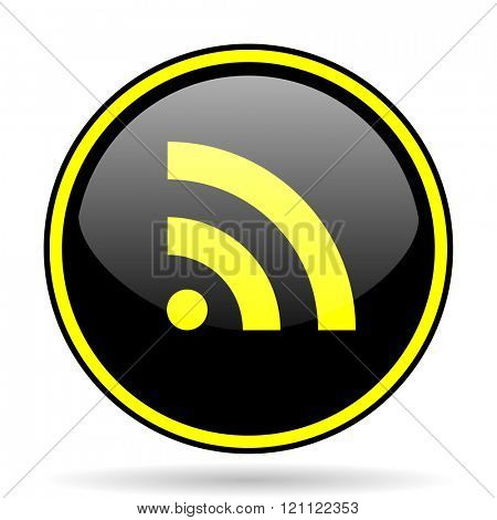 rss black and yellow modern glossy web icon