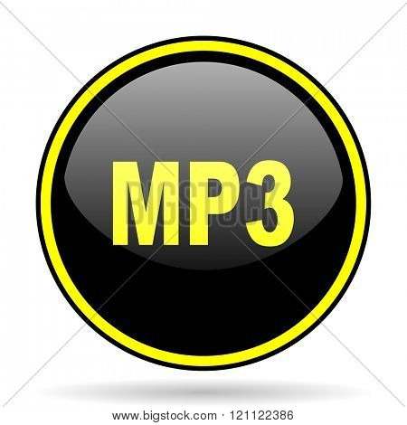 mp3 black and yellow modern glossy web icon