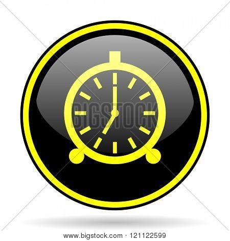 alarm black and yellow modern glossy web icon