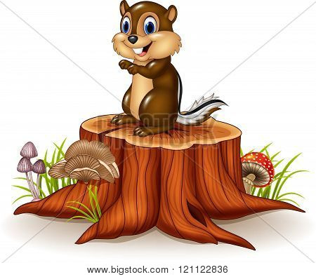 Cartoon chipmunk sitting on tree stump