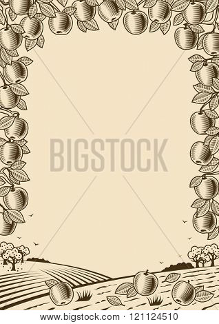 Retro apple vertical brown frame