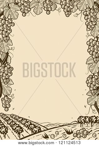 Retro grapes vertical brown frame
