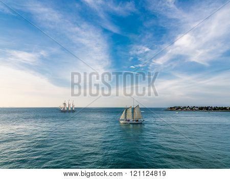 Two Schooners On Blue